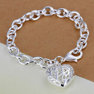 925 Sterling Silver Heart Bracelet NEW